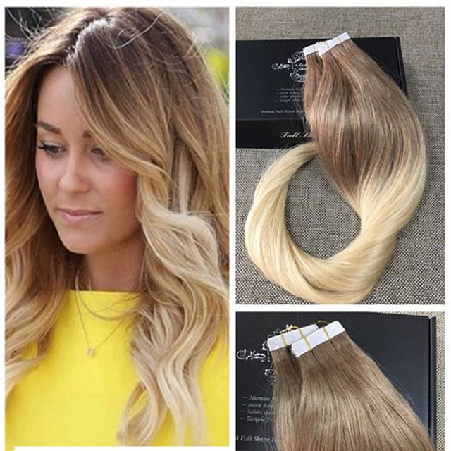 Full Shine Balayage Remy Tape In Human Hair Blonde Ombre Hair Tape