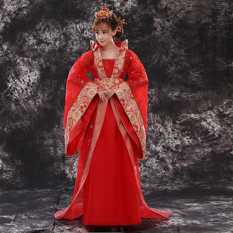 Kvinnor Hanfu Kostym Lady Imperial Princess Klänning Kinesisk släp Fairy Outfit Folkdansklänning Forntida Tang Dynasty Kläder