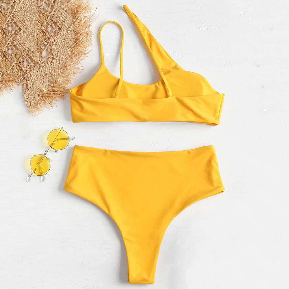 4e5328ca1f04eb ... ZAFUL High Cut One Shoulder Bikini 2018 Swimwear Women High Waist  Swimsuit Sexy Hollow Out Padded