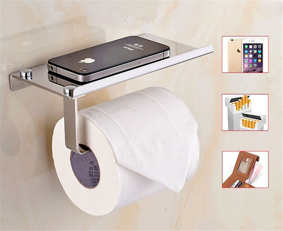 ONEUP Stainless Steel Toilet Paper Holder For Phones Shelf Roll Tissue Box Towel Rack Bathroom Storage Organizer Household Items