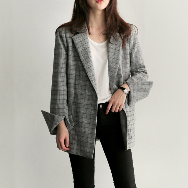 Autumn Winter Women Gray Plaid Office Lady Blazer Fashion Bow Sashes Split Sleeve Jackets Elegant Work Blazers Feminino