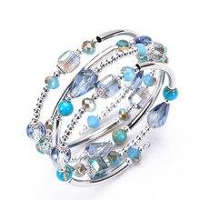Fashion Multilayer Crystal Bracelet Unisex Multi Circle Ladys Bangle Wedding Birthday Party Gifts Charm Bracelets