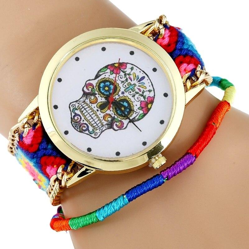 3fcf0fdb08d Mulheres Relógio mulher vestido relógio de pulso Moda Hippie MEXICANO  Crânio Tecido Pulseira Esqueleto reloj dama Estilo Genebra