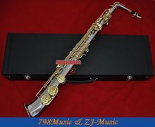 Nickel Plated and Gold Curved bell Eb Alto Saxophone High F Key Pearl Bottons