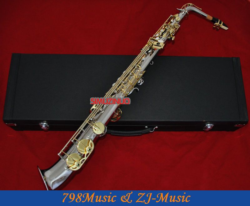 Nickel Plated and Gold Curved bell Eb Alto font b Saxophone b font High F Key