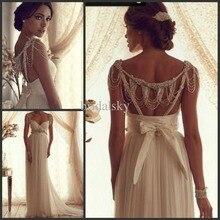 free shipping 2016 new fashion luxury crystal cap sleeve vestido de noiva casamento elegant backless wedding Dress bridal gowns
