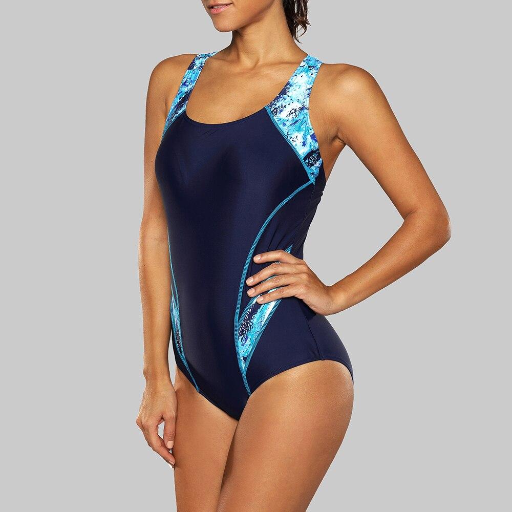 Charmleaks One Piece Women Sports Swimwear Sports Swimsuit Colorblock Beach Bathing Suit Bikini Monokini