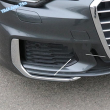 Lapetus Car Styling Front Face Fog Lights Lamp Eyelid Eyebrow Strip Cover Trim ABS Fit For Audi A6 C8 2019 Chrome Bright Look