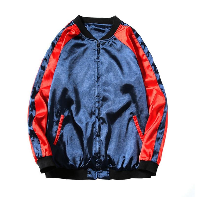 new arrival men's double sided reversible dragon emboridery light weight bomber jackets shiny satin juniors flight jackets