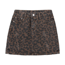 Sexy Leopard print denim skirt women Summer bodycon high waist pencil skirt Streetwear women fashion casual mini skirt faldas