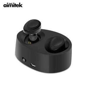 Image 1 - Aimitek K2 TWS Bluetooth Kulaklık Gerçek kablosuz kulaklık Mini Stereo Müzik Kulaklıklar Hands free Mic Ile Şarj Kutusu Telefonlar için