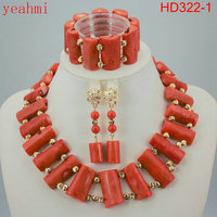 Wonderful gold color African Coral Beads Jewelry Set Nigerian Beads Necklace African Costume Jewelry Set HD322 1