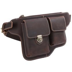TIDING waist bag for men genuine leather military equipment cell phone wallet holder for traveling 3111
