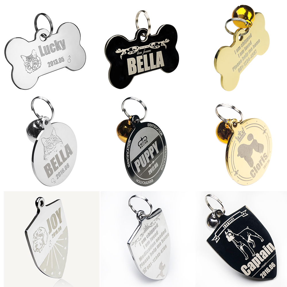 Buy 2 get 1 Free Personalized Stainless Steel ID TAG for Dogs Cats Custom Pet Name Tags-Engraved Free -Bone shape S-L