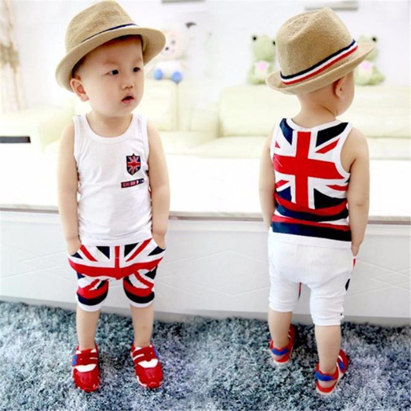 baby clothes 2017 fashion  Kids Baby Boys Union Jack Outfits Vest Tops Pants Set Clothesed T-shirt And Pants Suits x56 kids baby boys summer t shirt tops stripe beach pants outfits clothes sets 1 5y hot