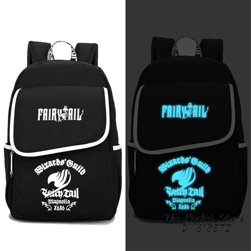 High Quality Hot Anime Fairy Tail Union Design Luminous Printing Backpack Canvas School Bags Mochila Feminina Laptop BackpackHigh Quality Hot Anime Fairy Tail Union Design Luminous Printing Backpack Canvas School Bags Mochila Feminina Laptop Backpack