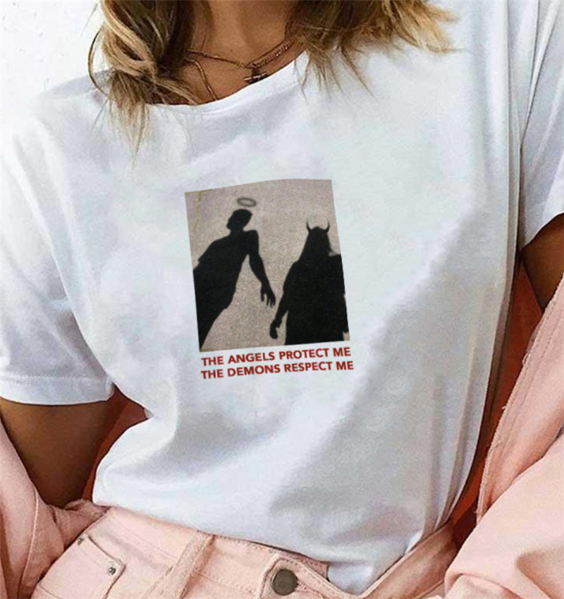 THE ANGELS PROTECT ME THE DEMONS RESPECT ME Printed   T     Shirt   Aesthetic Graphic Women Fashion Printing Tee Drop Shipping