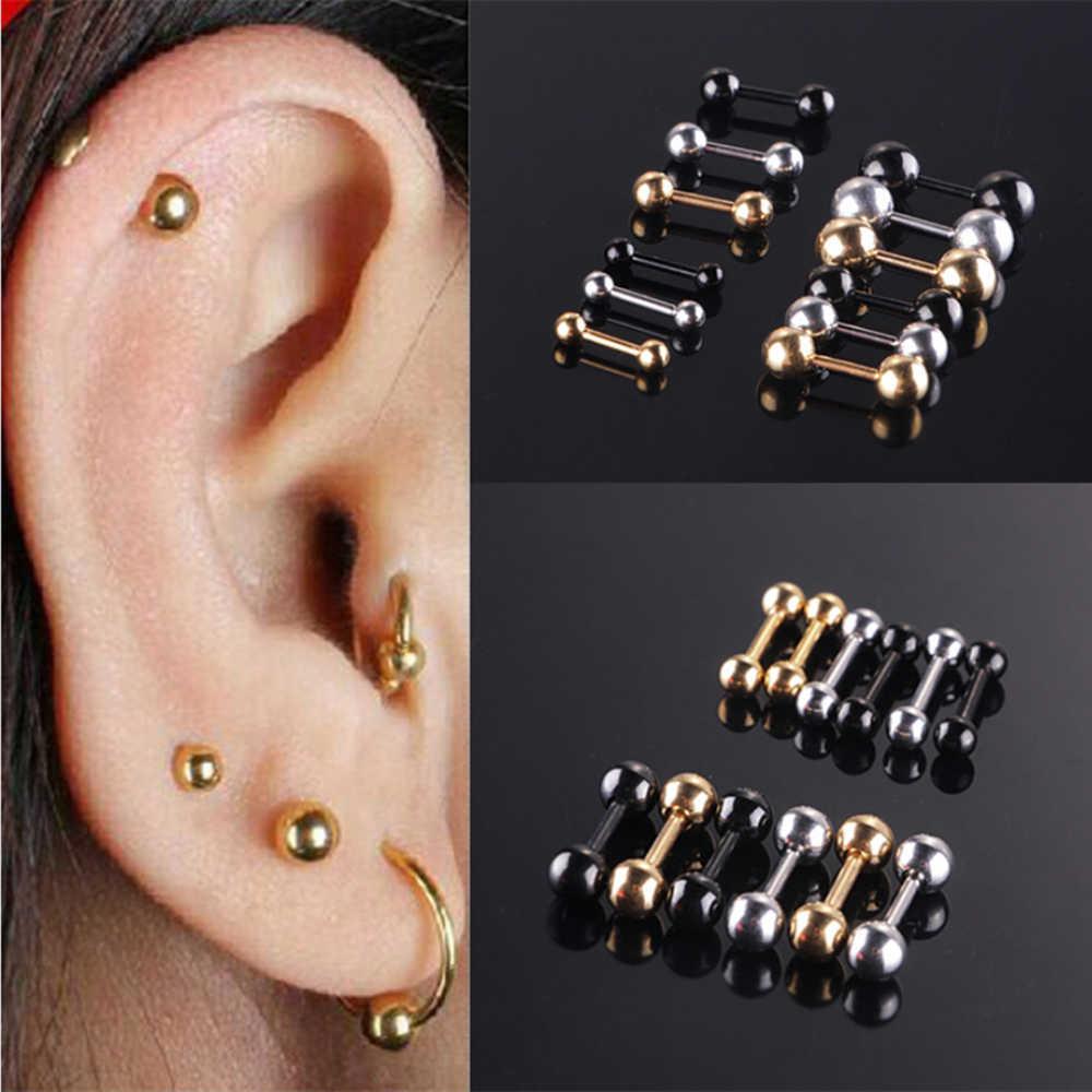 Trendy สแตนเลสสตีลลูกปัดสตั๊ดต่างหูสำหรับผู้หญิง 3/4/5 มม.ลูกปัดหูอุปกรณ์เสริมเครื่องประดับสำหรับ Unisex Bijoux