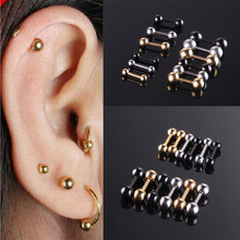 Trendy Simple Stainless Steel Bead Stud Earrings for Women man 3/4/5 mm Beads ear accessory Jewelry For Unisex Bijoux(China)