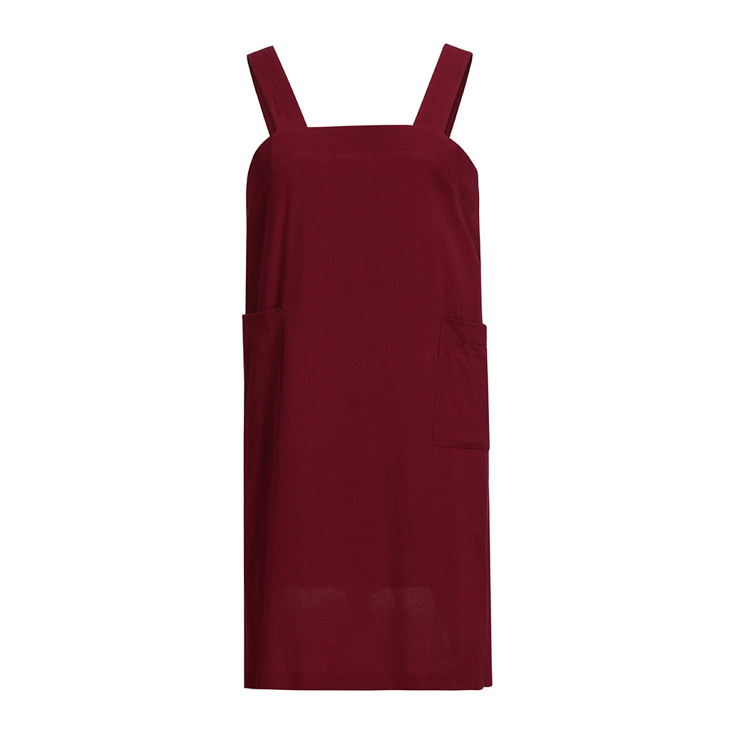 Casual Dress Women Cotton Linen Pinafore Square Cross Apron Garden Work Pinafore Dress vintage dresses
