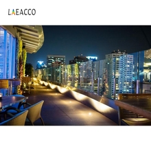 Laeacco Night City Rooftop Restaurant Backdrops Customized Photography Background Photographic Backdrops For Photo Studio 100% hand painted pro dyed muslin backdrops for photography studio customized photographic background wedding backdrops 10x10ft