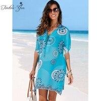Loose Beach Dress Bikini Cover Up Swimwear Long Sleeve Chiffon Dresses 2017 Summer Bathing Suit For