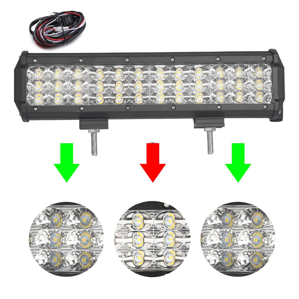 12 inch 144W Tri-Row LED Work Light Bar with Wiring Harness SPOT/FLOOD/COMBO Beam for Jeep Off road 4WD Boat SUV ATV Truck 4X4 17 inch 108w led light bar spot flood combo light led work light bar off road truck tractor suv 4x4 led car light 12v 24v