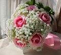 2017 Fotos Reales de Novia Ramos De Flores Rosa Rosa Ramos de Novia Cinta Babysbreath Ramos de novia ramos de flores Broche de pedreria