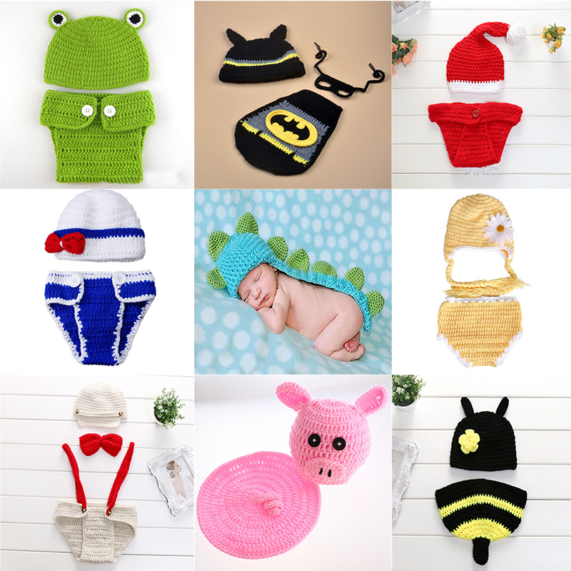 2018 Baby Photo Shoot Newborn photography props baby Costume Infant baby Knitting fotografia crochet rabbit outfits accessories newborn crochet baby costume photography props knitting baby hat bow baby photo props newborn baby girls cute outfits