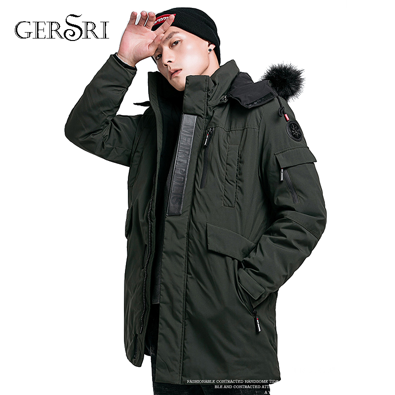 Gersri Parka Men New Arrival Winter Coat Male Jacket Cotton Warm Thicken Hooded Overcoat Comfortable Clothing