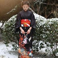 Новинка; классическая обувь черного цвета японское кимоно юката высокое качество Для женщин вечернее платье 9 штук Косплэй костюмный компл