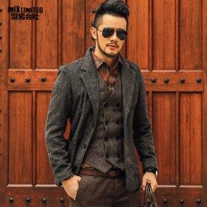 Image 1 - Casual Mannen Blazer Zakelijk Slim Fit Kostuum Homme Pak Blazer Masculino Mannelijke Wollen Jasje Blazer Hombres Ocasionales F196
