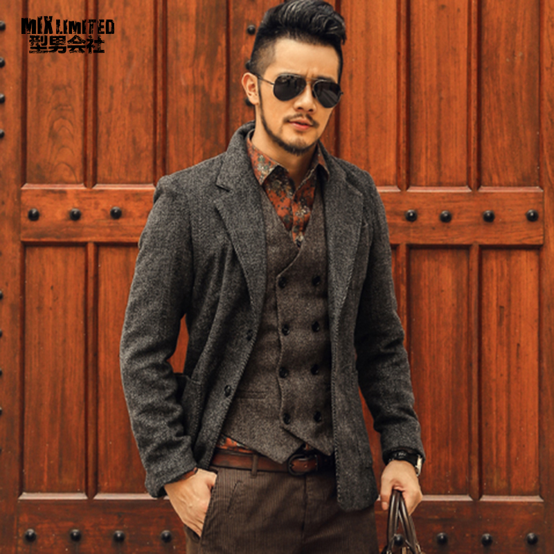 Casual Men Blazer Business Slim Fit Costume Homme Suit Blazer Masculino Male Woolen Suit Jacket Blazer Hombres Ocasionales F196