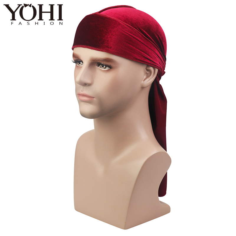 New Unisex Velvet Durag Waves Extra Long Tail And Wide Straps For Du-RAG Make Middle Stitch On Outside Hair Accessories(China)