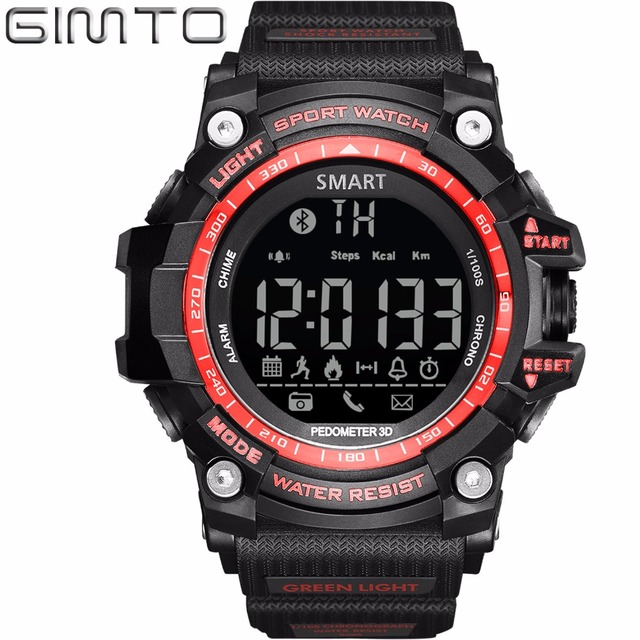 GIMTO Smart Watch Men Digital Sport Watches For Men Silicone Chronograph Waterproof LED Electronic Wristwatch Relogio Relojes