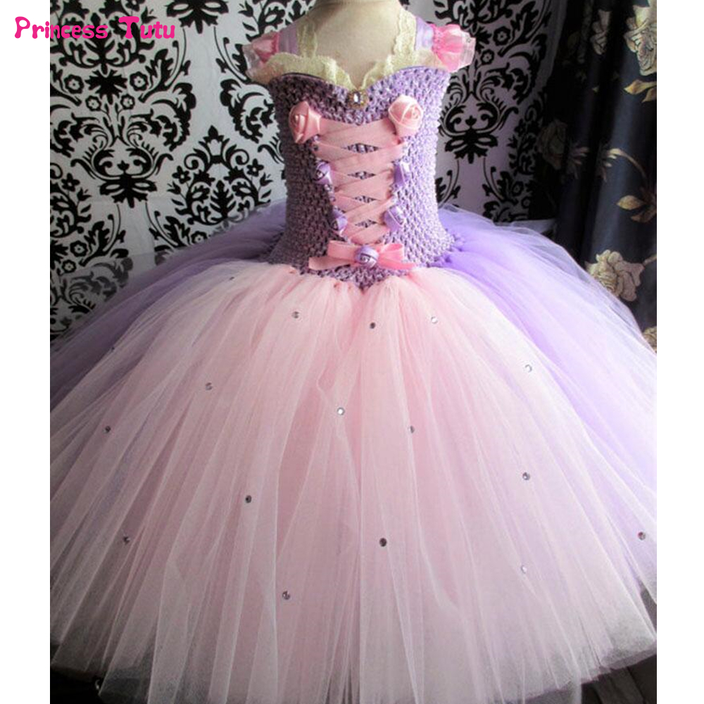 Pink Lavender Girls Princess Rapunzel Dress Children Party Wedding Ball Gown Kids Tutu Dresses For Girls Halloween Costume 1-14Y girls peacock tutu dress with feather long handmade 1 14y kid party ball gown flower wedding birthday halloween costume vestidos
