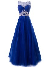 2019 Chic Bateau Neck Beaded Crystal Backless Royal Blue Tulle Evening Dress Long Formal Prom Gowns Robe De Soiree Customed