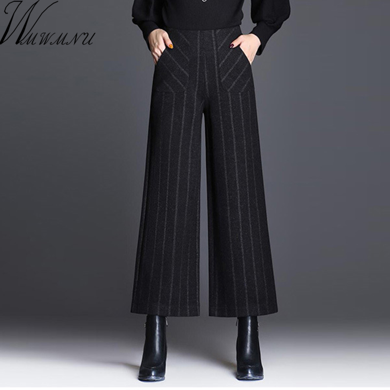 plus size   Wide     Leg     Pants   Women Elegant Casual woolen   Wide   Trousers Women Pantalon Mujer High elastic Waist Womens   Pants   2018