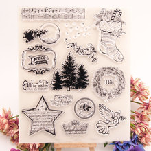 Merry Christmas Tree Transparent Clear Stamps Silicone Seal for DIY Scrapbooking Card Making Photo Album Decor Supplies Crafts