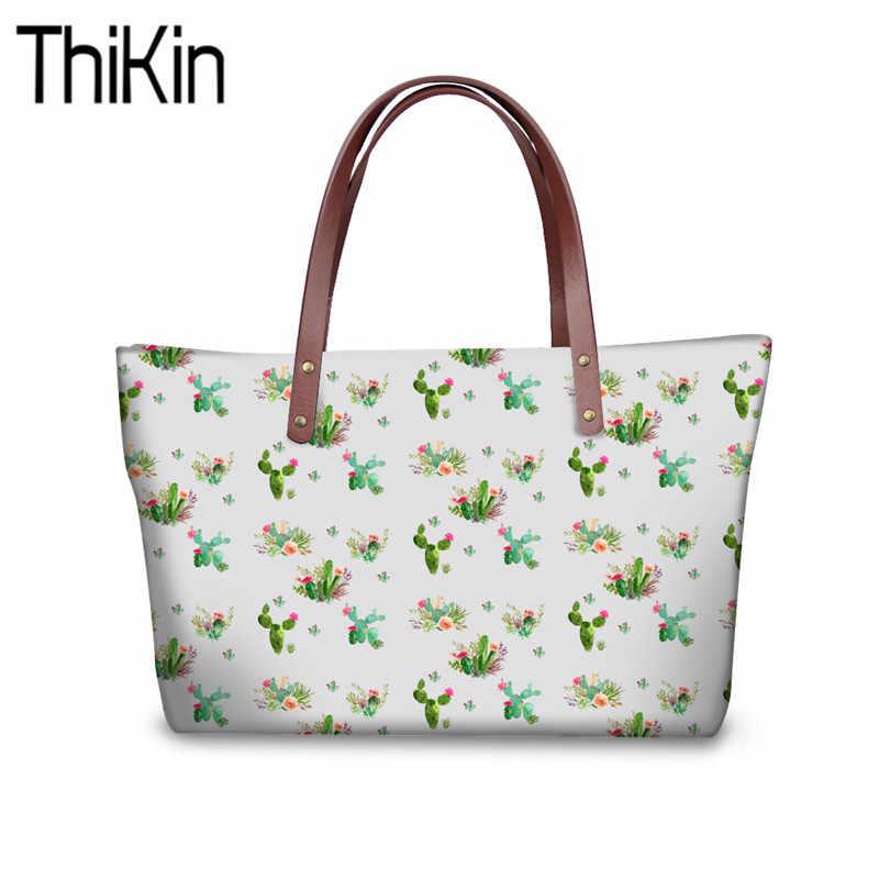 THIKIN torby z bawełny dla kobiet zachodnie kwiaty nadrukowana góra torby z uchwytami damskie wzór kaktusa torby listonoszki kobiece Bolsa