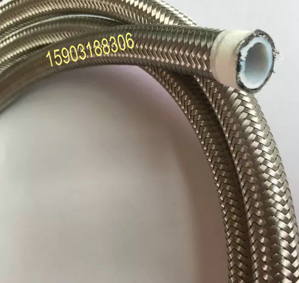 8MM x 1METER STAINLESS STEEL BRAIDED PTFE TEFLON FUEL HOSE LINE OIL PETROL HOSE