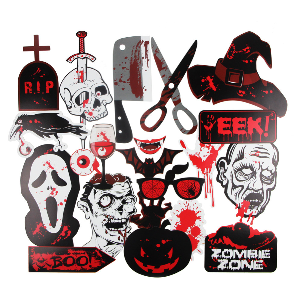 22pcs Scary Halloween Photo Booth Props On A Stick Set