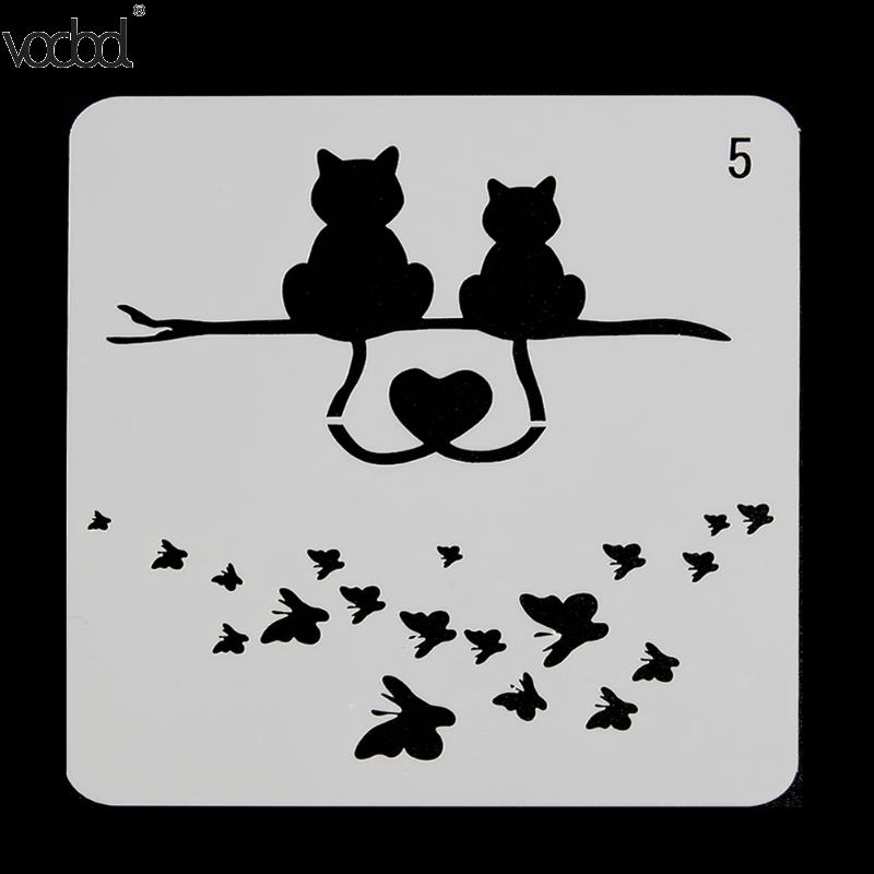 VODOOL Cats Butterfly Layering Stencils For Walls Painting Scrapbooking Stamping Stamps Album Decorative Embossing Paper Cards