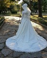 hijab wedding dress long sleeve lace applique floor length Muslim With Beaded Ribbons Bow Court Train  buy direct from china