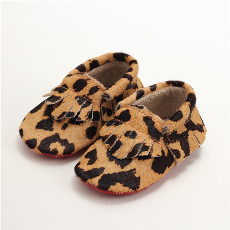 Hand-made Horse hair Leather Baby shoes Baby Moccasins Tassel Leopard First Walkers Bebe Soft bottom newborn shoes