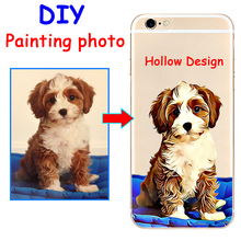 Custom illustrated Hand Drawn Dog Hollow hard phone case cover for Samsung s8 s9plus S7e for iPhone 7 6s 8plus 5s X XS XR XSMAX