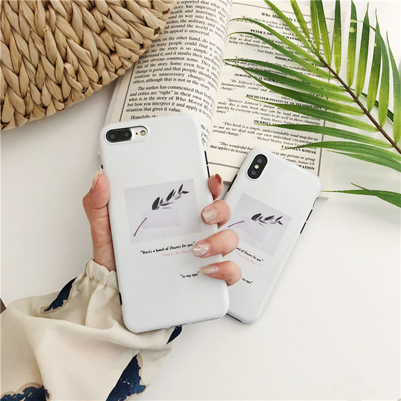 Summer Plant Leaf Image Phone Case For iphone 6 6S 7 8 plus Case Fashion Simple Letter Sentence Soft Cases For iphone X Capa