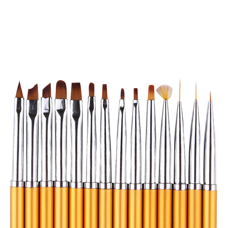 купить 16pcs Nail Art Brush Set Pro Metal Uv Gel Polish Gradient Painting Lining Dotting Carving Sculpture Brush Manicure Set Kit New недорого