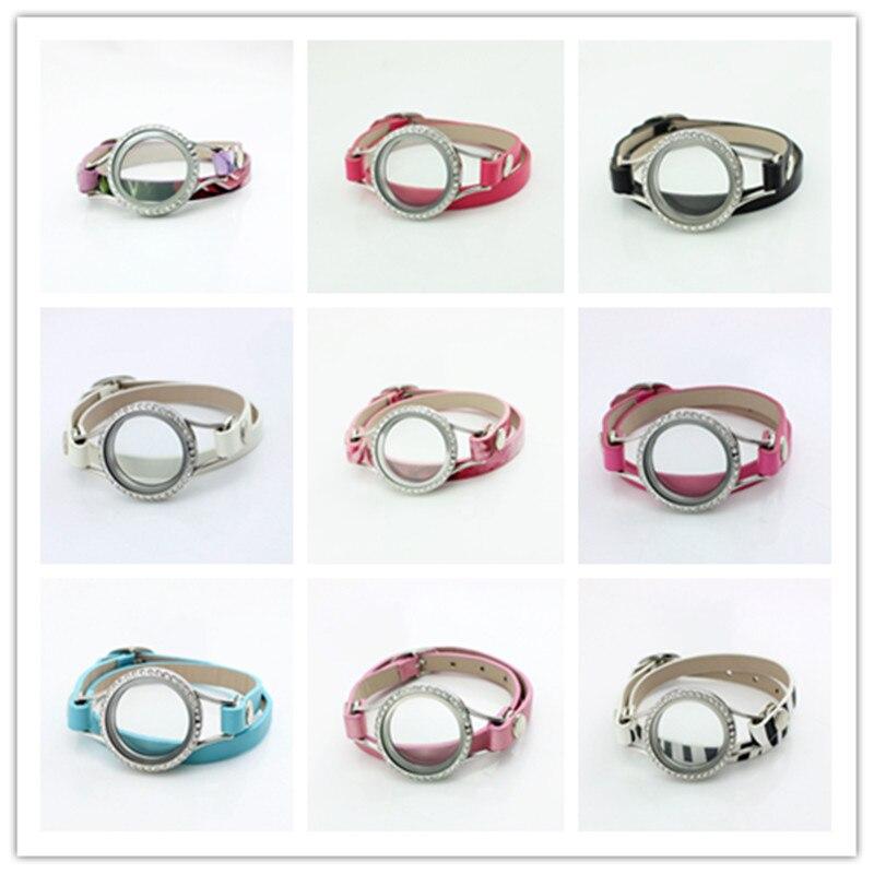 10Pcs Lot Fashion Waterproof Wrap Leather Locket Bracelet 30MM Stainless Steel Silver Floating Bracelets Screw Plain Face