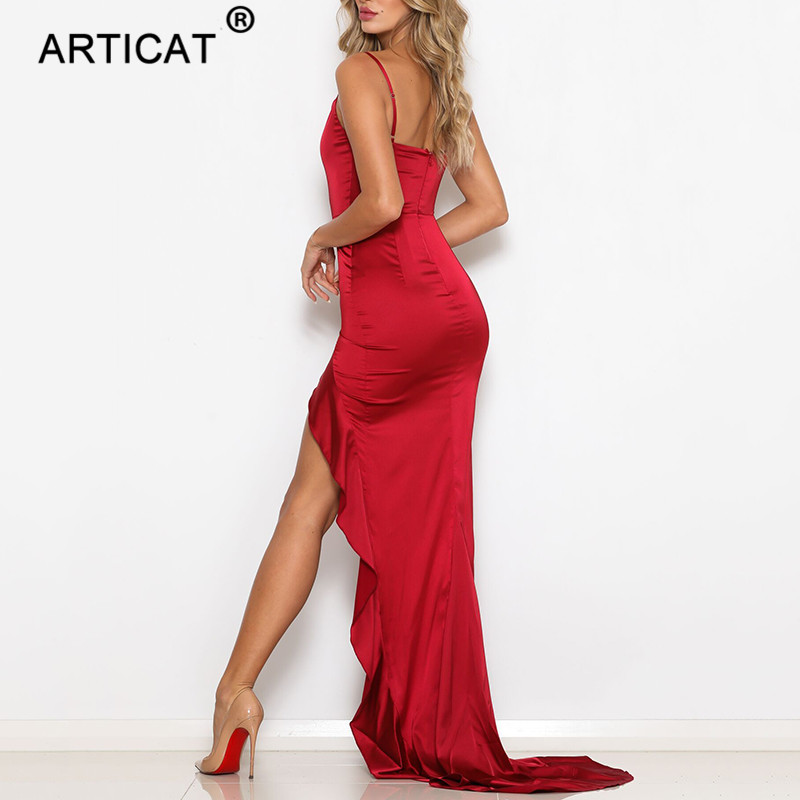 Red Satin Backless Ruffles Long Dress Party Dress